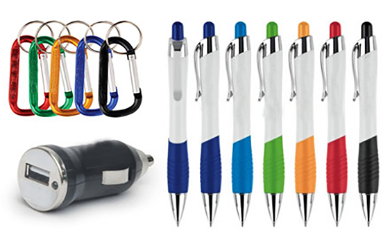Promotional printed pens and usb drive and key chains