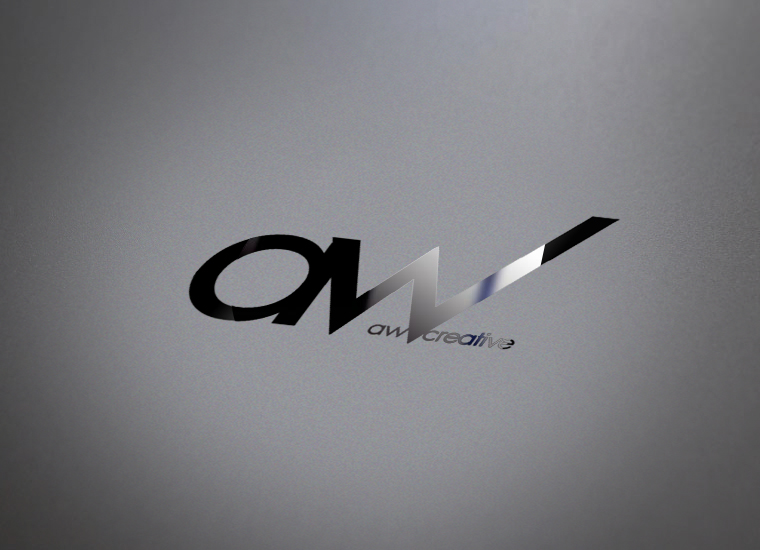 AW Creative Media logo etched in glass