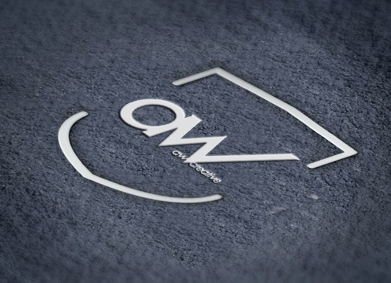 AW Creative logo embossed in material