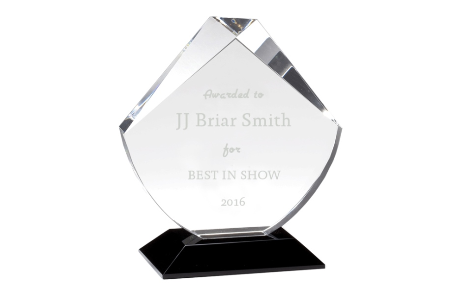 Crystal awards and trophies with etched laser printing