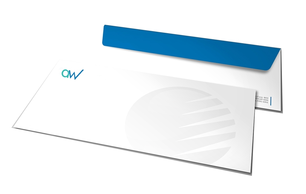 Image of size 10 envelopes showing AW Creative Design Services