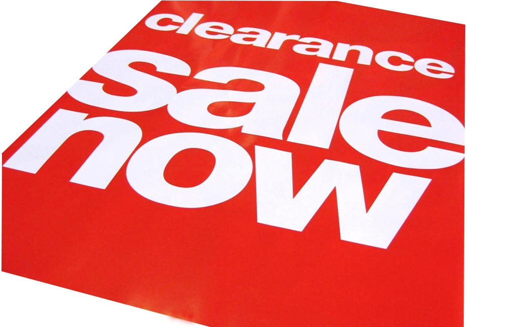 red printed store signs and retail display