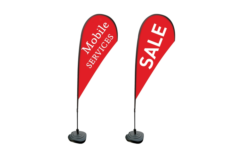 AW Creative prints teardrop and flag banners