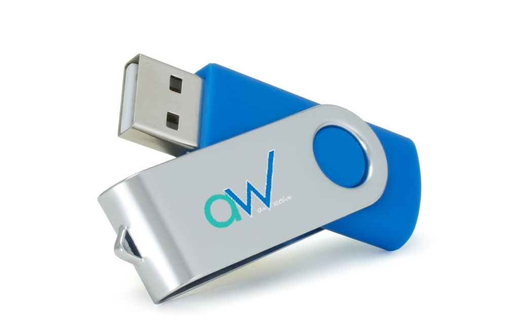 Promotional USB drive printed with logo